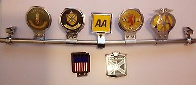 Vintage Car Chrome Grill Display Bar With Badges Plus Extra Badges