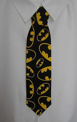 Boys Black and Yellow Batman Symbols Tie - Pre-tied elasticated