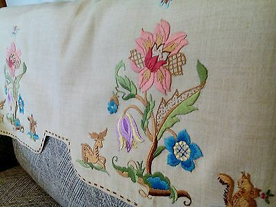Stunning vintage Jacobean style hand embroidered floral linen sofa back cover