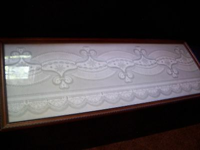 Antique Acid Etched Glass Window Stained Framed Victorian Architectural Salvage