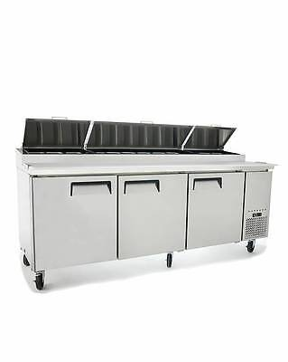 "New 93"" Refrigerated Pizza Prep Table 3 Doors 12 Pans 19.5"" Deep Board & Casters"