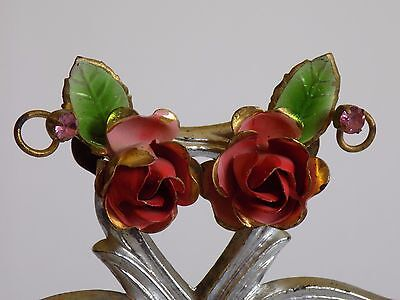 Vintage Enameled Rose Flower Blossom Rhinestone Clip On Earrings SIGNED AUSTRIA