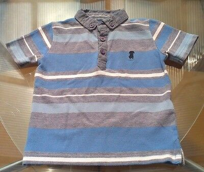 Baby Boys Blue & Grey Jasper Conran Polo Shirt  ~ 18-24 Months