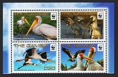 SALE Gambia Birds WWF Yellow-billed Stork 4v Block of 4