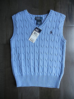$45 NEW NWT Boys POLO Ralph Lauren Cable Knit V Neck Sweater Vest Size 6 WEDDING
