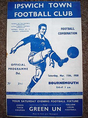 IPSWICH TOWN Res v BOURNEMOUTH Reserves 1957 1958 Rare FOOTBALL PROGRAMME