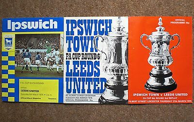 IPSWICH TOWN v LEEDS UNITED 1975 FA CUP 1/4 FINAL & REPLAYS FOOTBALL PROGRAMMES