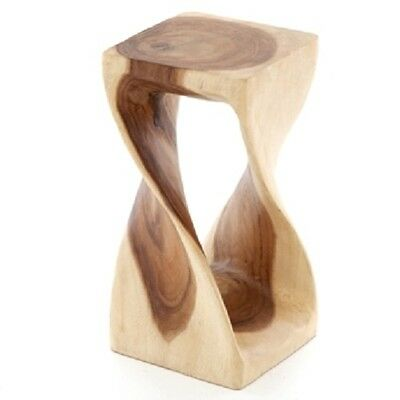 Small Twisted Side Table/Stool/Solid Acacia Wood/Lamp Table/Plant Stand/Natural