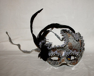 MASK Fancy Silver Black with Feathers Mardi Gras Masquerade Ball Halloween NEW