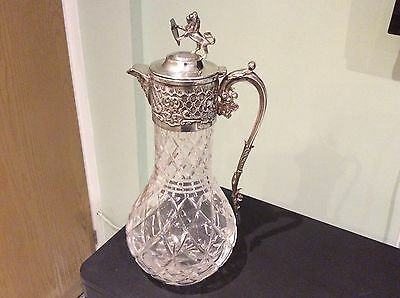 Superb Quality Silver Plate Cut Glass Claret Jug , Decanter