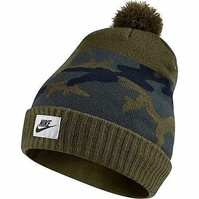 b8367ead093c6 NIKE BEANIE HAT Adult UNISEX MEN WOMEN New KNIT CAP Green Gray CAMO POM NWT   59