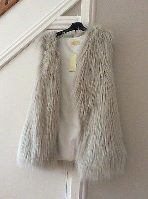 LADIES Grey FAUX FUR GILET SIZE 12/14 NEW/TAGS