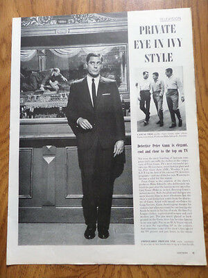 1959 Movie TV Television Ad  Private Eye in Ivy Style Peter Gunn Craig Stevens