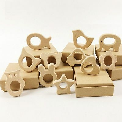 Wooden Teether (3-Pack) Baby Teething Toy Organic Eco-friendly Wood Gift