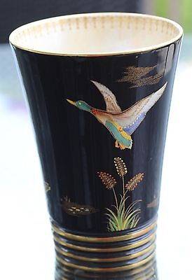 Mallard Duck in Flight Handpainted Carlton Ware vase,enamel overlay Mallard Duck