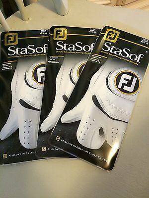 3 Brand New FOOTJOY STASOF golf gloves CADET MEDIUM LARGE - fits left hand
