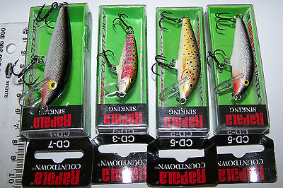 RAPALA FISHING LURES LOT OF 4, CD-7, CD-5 & CD-3  COUNTDOWN  Trout, Bass, Cod.
