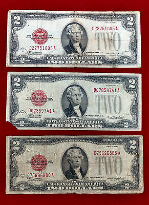 3 - 1928 D Two Dollar Red Seal Federal Reserve Notes