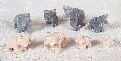 "8 Miniature Hand Carved Marble Stone Elephant Figures 1/2"" - 2"""