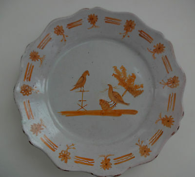 "Late 18th, Early 19th c FRENCH FAIENCE 9"" PLATE, with BIRDS, PROBABLY NEVERS"