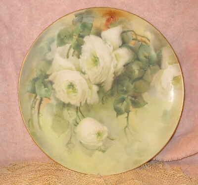 Ant Hand Painted Haviland Limoges France Green White Roses Plate Signed B Oatley