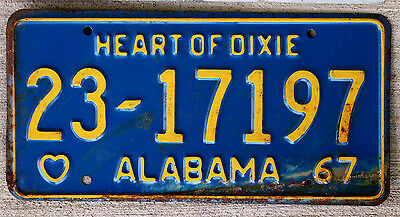 1967 Yellow on Blue Alabama License Plate