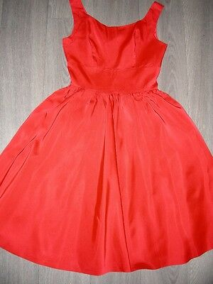 Vintage 50s 60s girls red full skirted satin rayon ? dress couple small marks