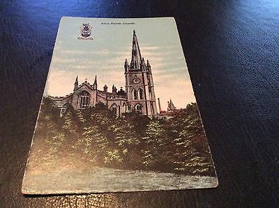 Alloa Parish Church- Coat Of Arms Vintage Postcard