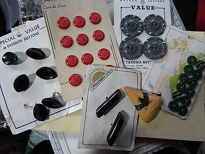 5 Sets/Lot of 36 Vtg Mod-Color Plastic Buttons green peas red fruits space black