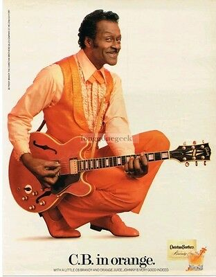 1987 CHRISTIAN BROTHERS Brandy CHUCK BERRY Duckwalk Gibson Guitar VTG PRINT AD