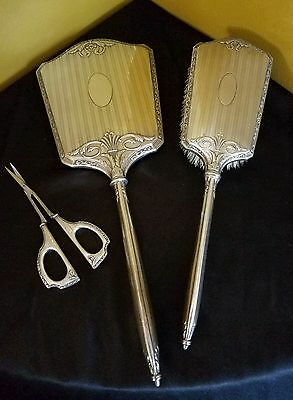 Antique Roden Bros-Birk 925 Sterling Silver Vanity  Mirror Brush Scissors Set