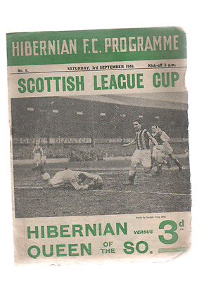 Hibernian v Queen of the South 3rd September 1949 Scottish League Cup