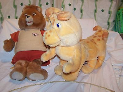 Vintage Teddy Ruxpin & GRUBBY with Connector cord 1985 World Of Wonder