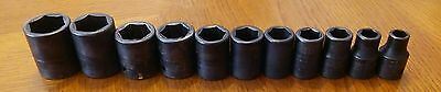 "snap on tools 1/2"" dr impact sae shallow socket set 1"" to 3/8"" 11pc"