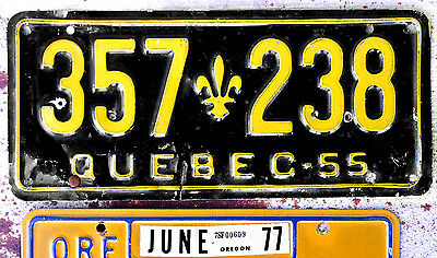 1955 Yellow on Black Quebec License Plate