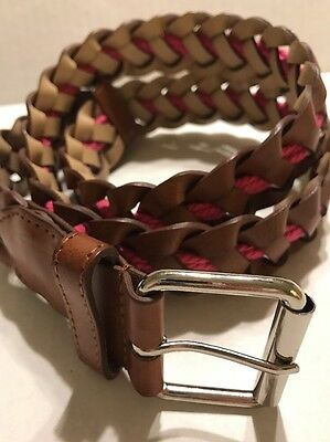 Another Line Women's Brown Woven Belt Pink Rope Accent Medium