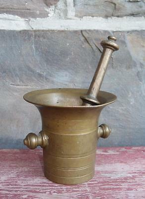 Antique 18th Century Metalware Brass Mortar and Pestle Set Fine Example NR