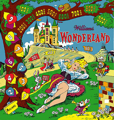 Williams 1955 WONDERLAND Pinball Machine Replacement BACKGLASS AWESOME ARTWORK