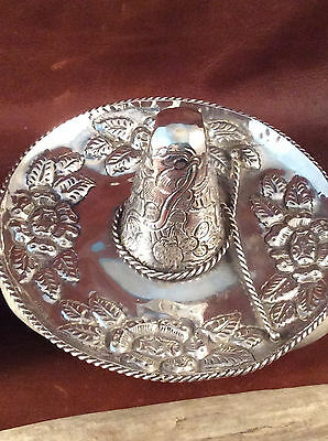 Sterling Silver Mexican Coat of Arms Sombrero Jewelry Tray/Ashtray 99 grams