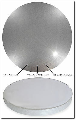 """MDF 6"""" 6mm Quality Cake Boards [5x Pack] With English Paper [Made In Melbourne]"""
