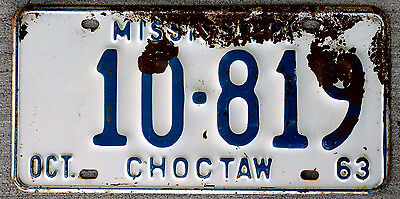 1963 Blue on White Mississippi License Plate CHOCTAW