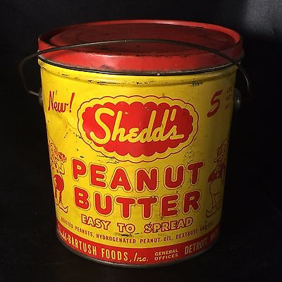 Vintage SHEDD'S Peanut Butter 5# Tin Pail Bucket - RED LID Wire Handle