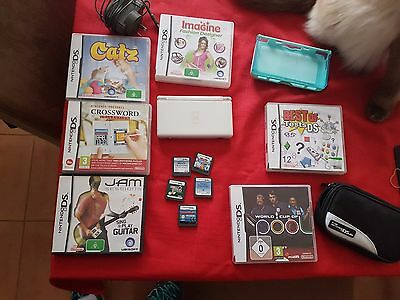 Nintendo DS Lite White Handheld Console with 11 games & accessories