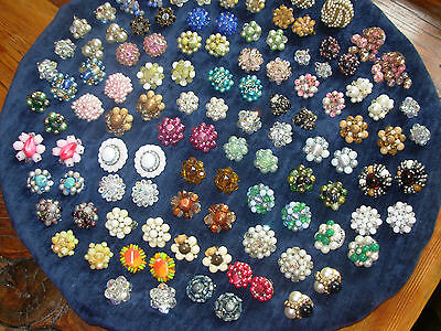 HIGH QUALITY HUGE VINTAGE JEWELRY LOT CLIP/SCREW ON CLUSTER EARRINGS trifari