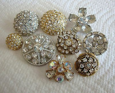 Lot of 9 Vintage Rhinestone Buttons