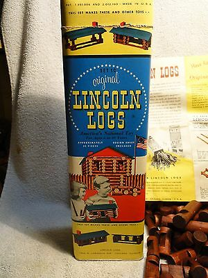 1950's Lincoln Logs 53 pcs. w/original Container & Instructions ++ Amercian logs