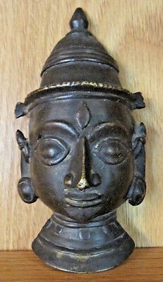 """Vintage Brass Lord Shiva Head, 4-5/8"""" Tall, 2-3/4"""" Wide At The Base Of The Ear"""