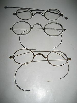 Lot of 3 - 19th Century Silver & Gold Filled Wire Rimmed Eyeglasses/Spectacles