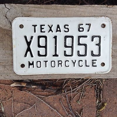 1967 Texas motorcycle license plate tag vintage