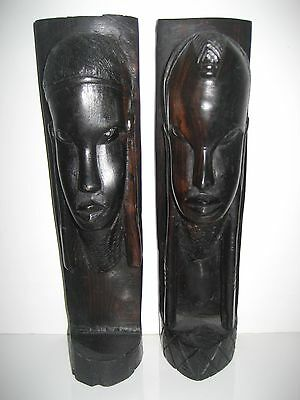 Vintage Pair Of Carved Ebony Figures - Busts - Sculptures